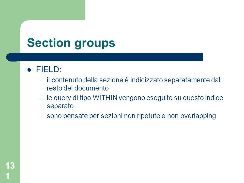 Section groups FIELD: il contenuto della sezione è indicizzato separatamente dal resto del documento.