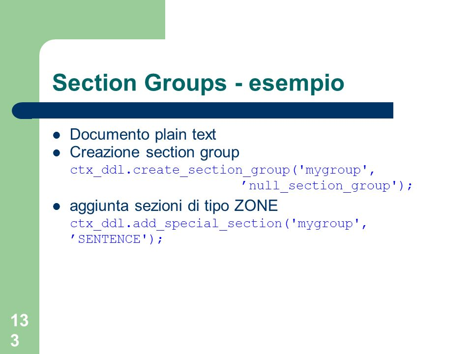 Section Groups - esempio