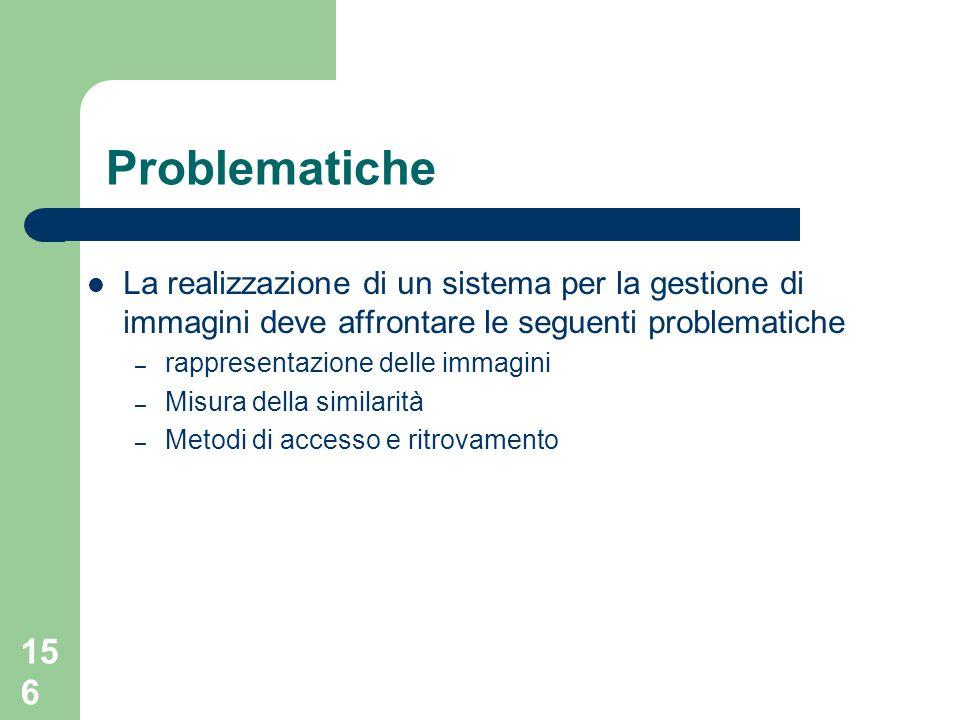 Problematiche La realizzazione di un sistema per la gestione di immagini deve affrontare le seguenti problematiche.