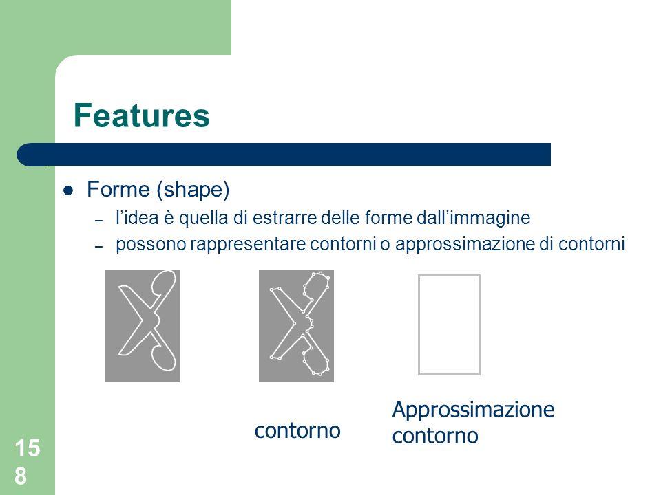 Features Forme (shape) Approssimazione contorno contorno