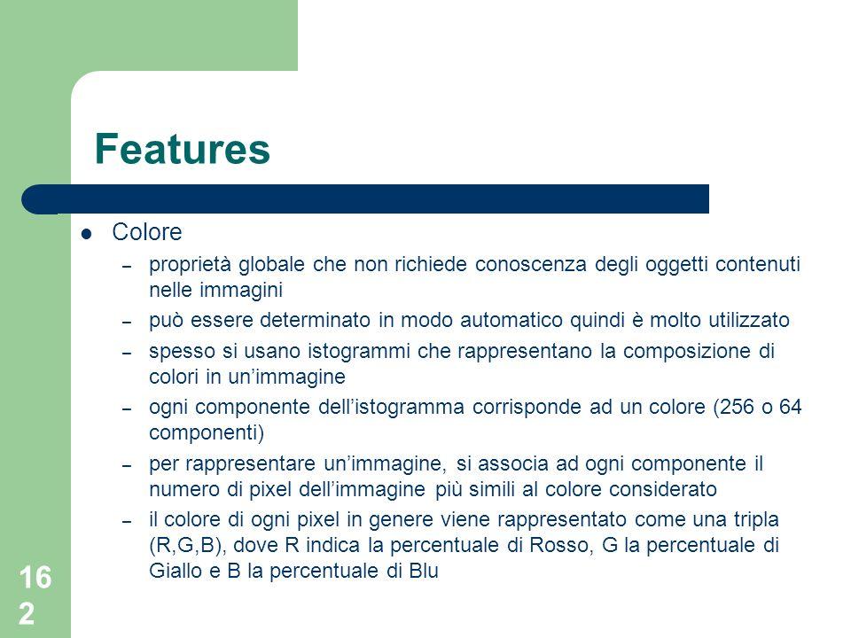 Features Colore. proprietà globale che non richiede conoscenza degli oggetti contenuti nelle immagini.