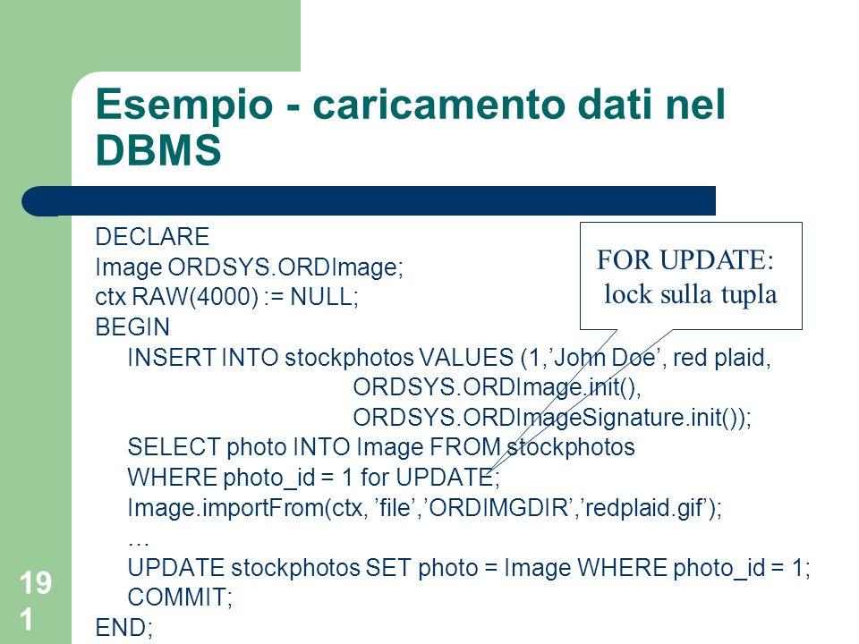 Esempio - caricamento dati nel DBMS