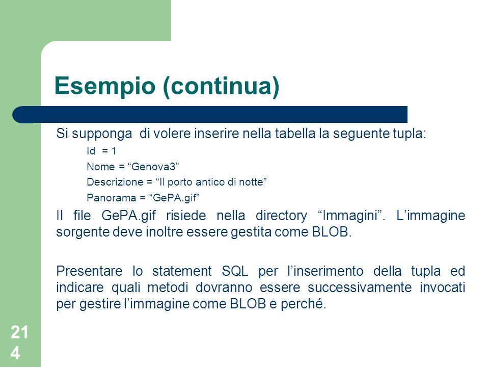 Esempio (continua) Si supponga di volere inserire nella tabella la seguente tupla: Id = 1. Nome = Genova3