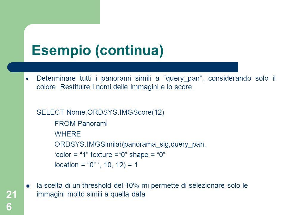 Esempio (continua) SELECT Nome,ORDSYS.IMGScore(12)
