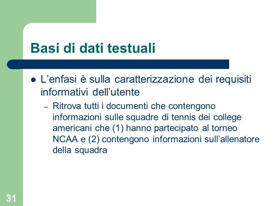 Basi di dati testuali L'enfasi è sulla caratterizzazione dei requisiti informativi dell'utente.