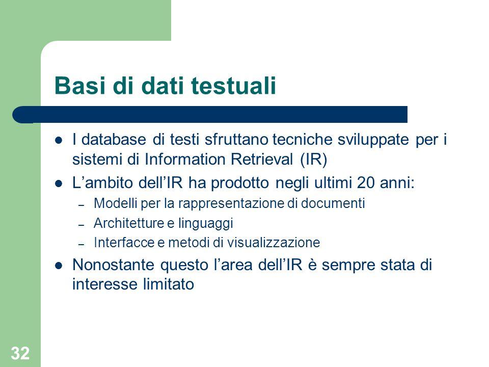 Basi di dati testuali I database di testi sfruttano tecniche sviluppate per i sistemi di Information Retrieval (IR)