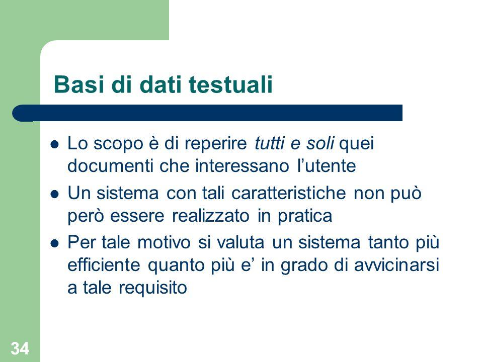Basi di dati testuali Lo scopo è di reperire tutti e soli quei documenti che interessano l'utente.