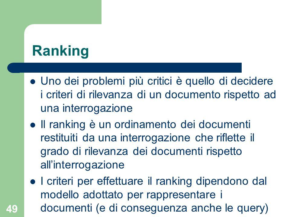 Ranking Uno dei problemi più critici è quello di decidere i criteri di rilevanza di un documento rispetto ad una interrogazione.