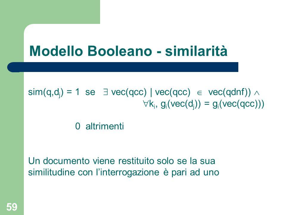 Modello Booleano - similarità