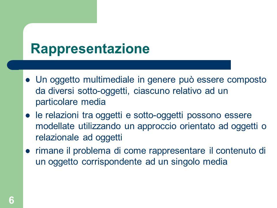 Rappresentazione Un oggetto multimediale in genere può essere composto da diversi sotto-oggetti, ciascuno relativo ad un particolare media.