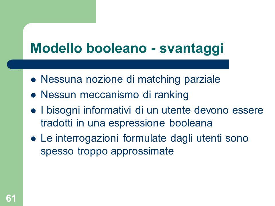 Modello booleano - svantaggi