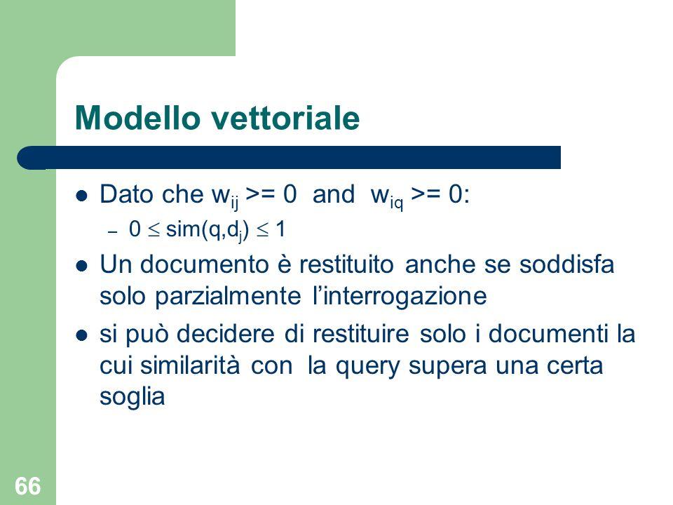 Modello vettoriale Dato che wij >= 0 and wiq >= 0: