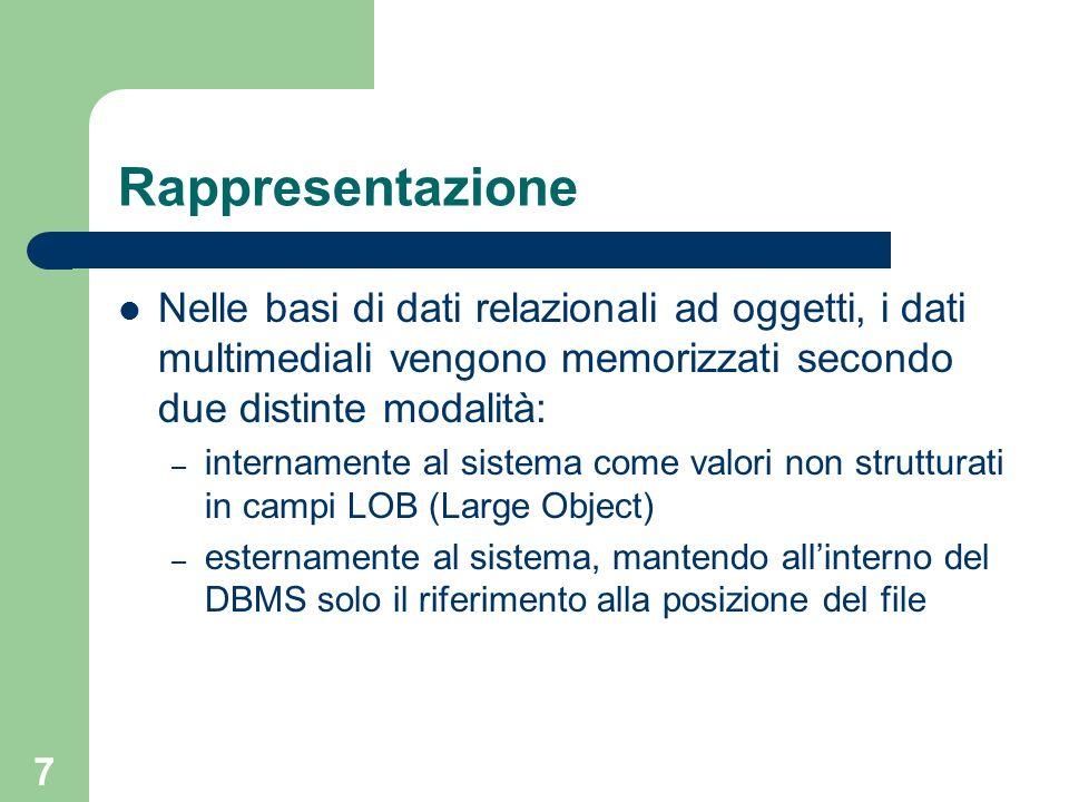 Rappresentazione Nelle basi di dati relazionali ad oggetti, i dati multimediali vengono memorizzati secondo due distinte modalità: