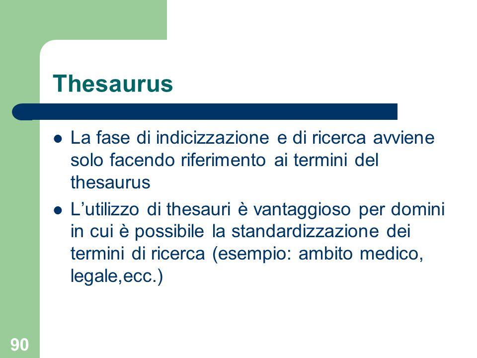 Thesaurus La fase di indicizzazione e di ricerca avviene solo facendo riferimento ai termini del thesaurus.