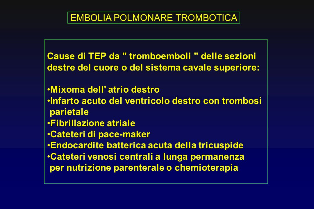 EMBOLIA POLMONARE TROMBOTICA