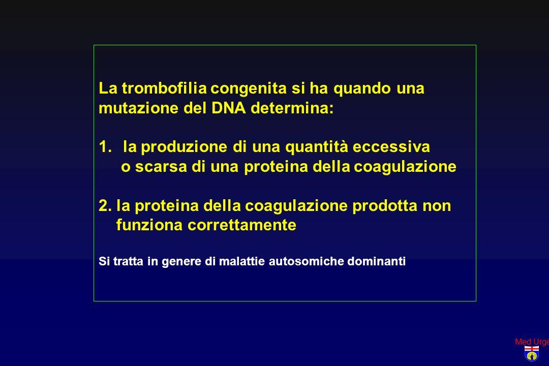 La trombofilia congenita si ha quando una mutazione del DNA determina: