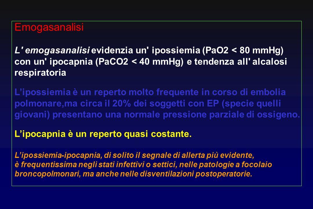 Emogasanalisi L emogasanalisi evidenzia un ipossiemia (PaO2 < 80 mmHg) con un ipocapnia (PaCO2 < 40 mmHg) e tendenza all alcalosi.
