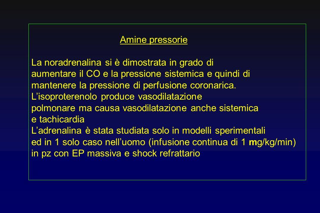 Amine pressorie La noradrenalina si è dimostrata in grado di. aumentare il CO e la pressione sistemica e quindi di.
