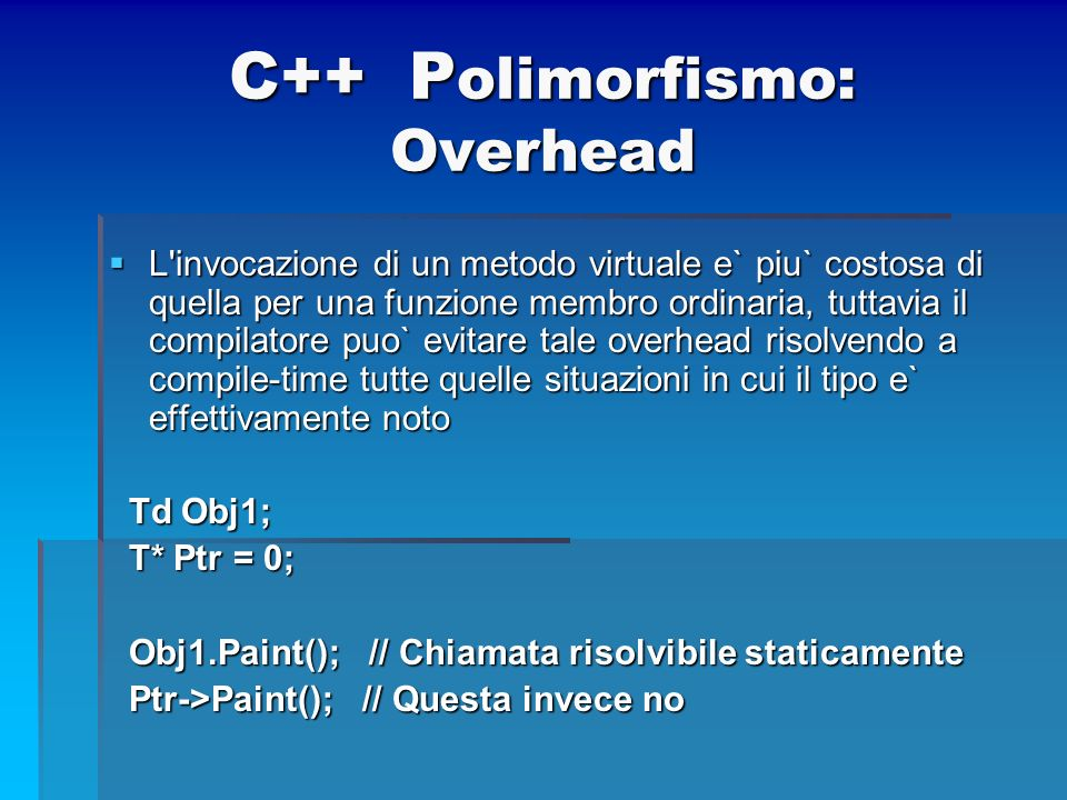 C++ Polimorfismo: Overhead