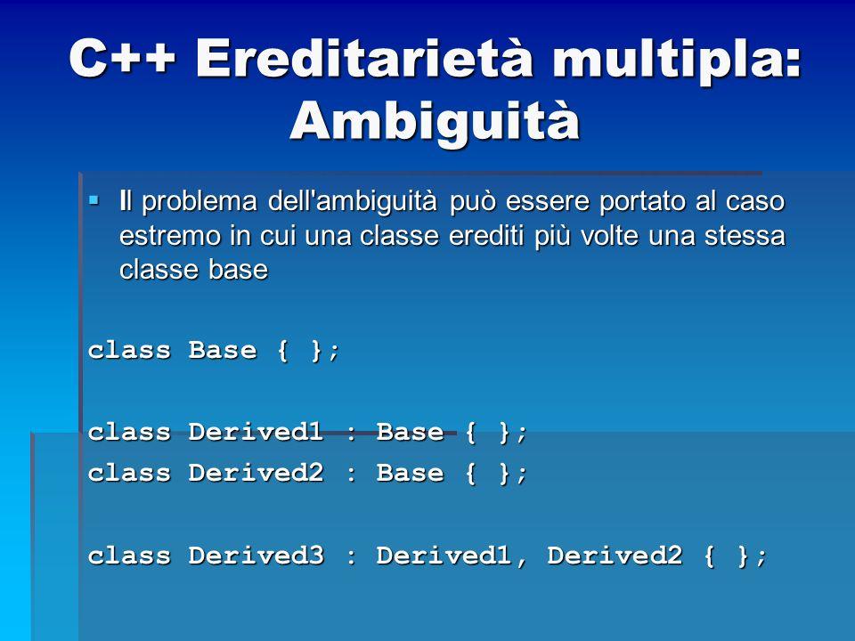 C++ Ereditarietà multipla: Ambiguità