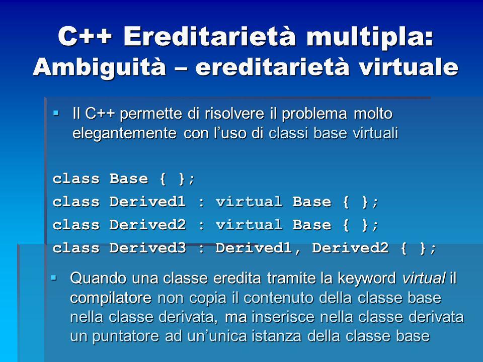 C++ Ereditarietà multipla: Ambiguità – ereditarietà virtuale