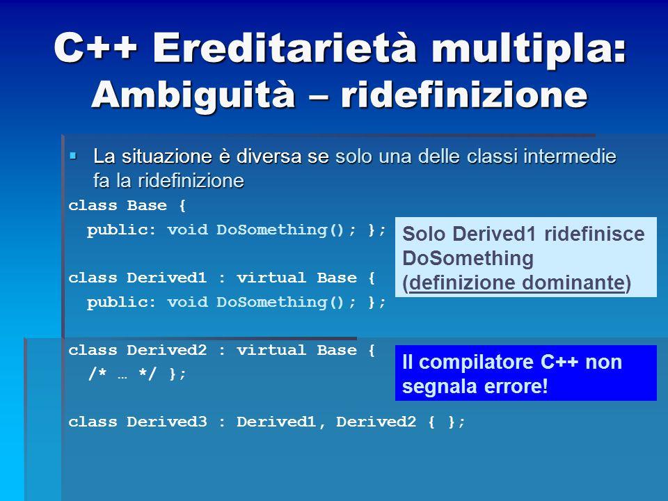 C++ Ereditarietà multipla: Ambiguità – ridefinizione