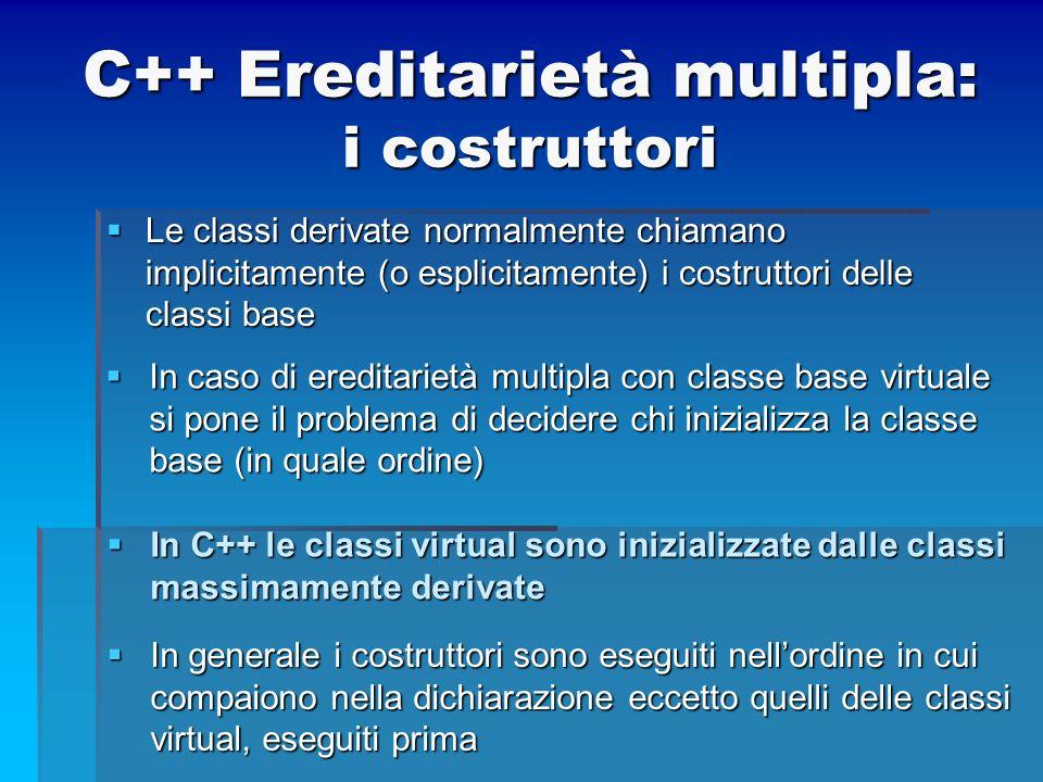 C++ Ereditarietà multipla: i costruttori