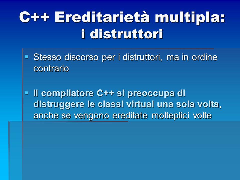 C++ Ereditarietà multipla: i distruttori