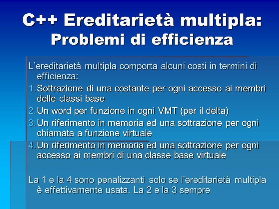 C++ Ereditarietà multipla: Problemi di efficienza