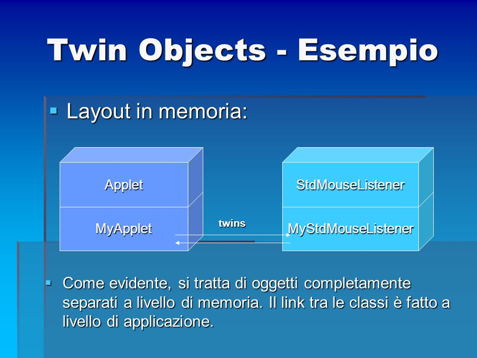 Twin Objects - Esempio Layout in memoria: