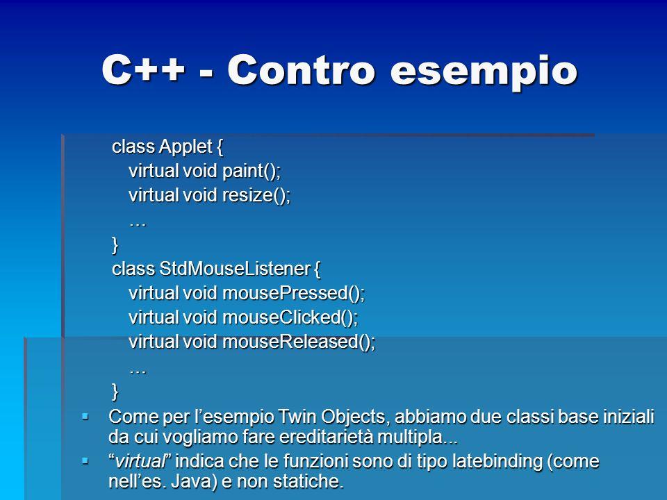 C++ - Contro esempio class Applet { virtual void paint();
