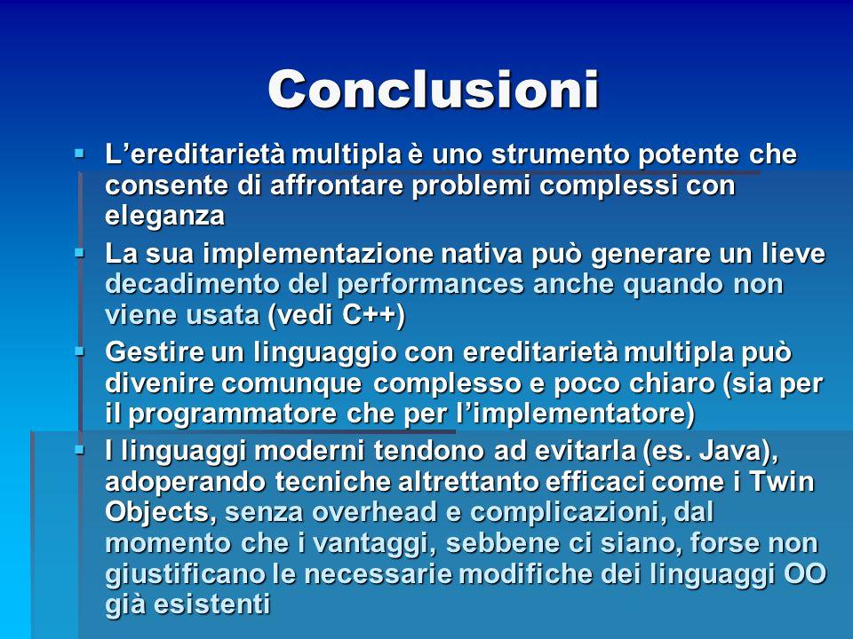 Conclusioni L'ereditarietà multipla è uno strumento potente che consente di affrontare problemi complessi con eleganza.