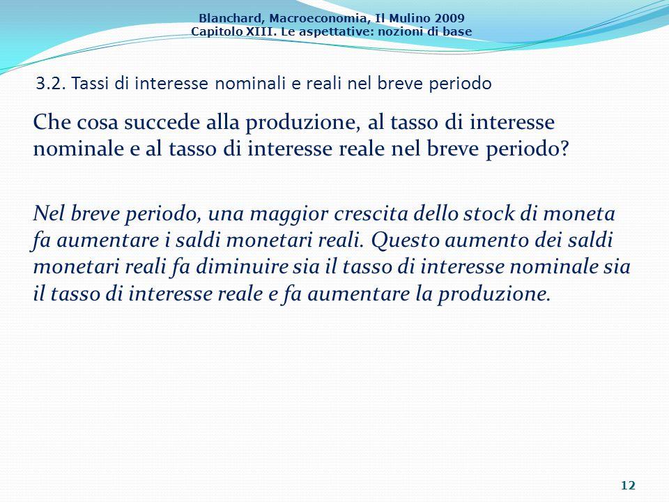 3.2. Tassi di interesse nominali e reali nel breve periodo