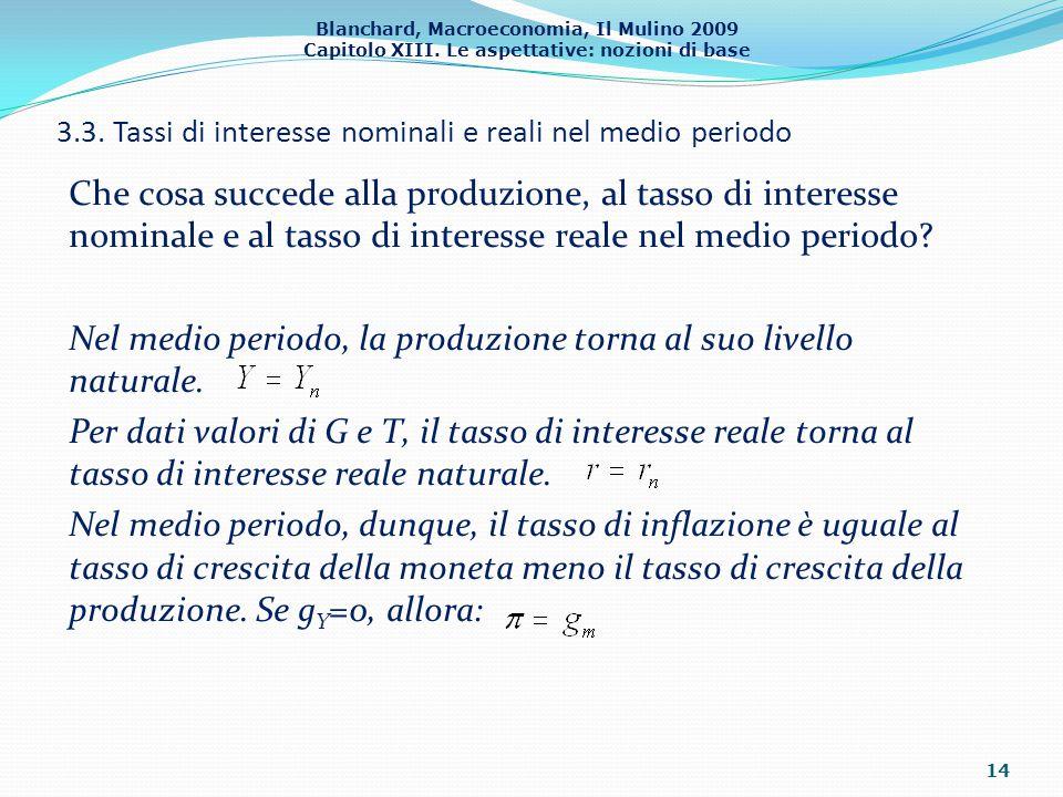 3.3. Tassi di interesse nominali e reali nel medio periodo