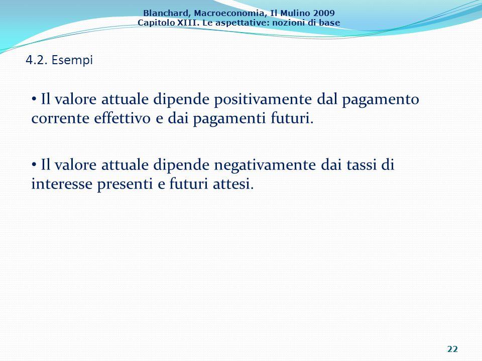 4.2. Esempi Il valore attuale dipende positivamente dal pagamento corrente effettivo e dai pagamenti futuri.