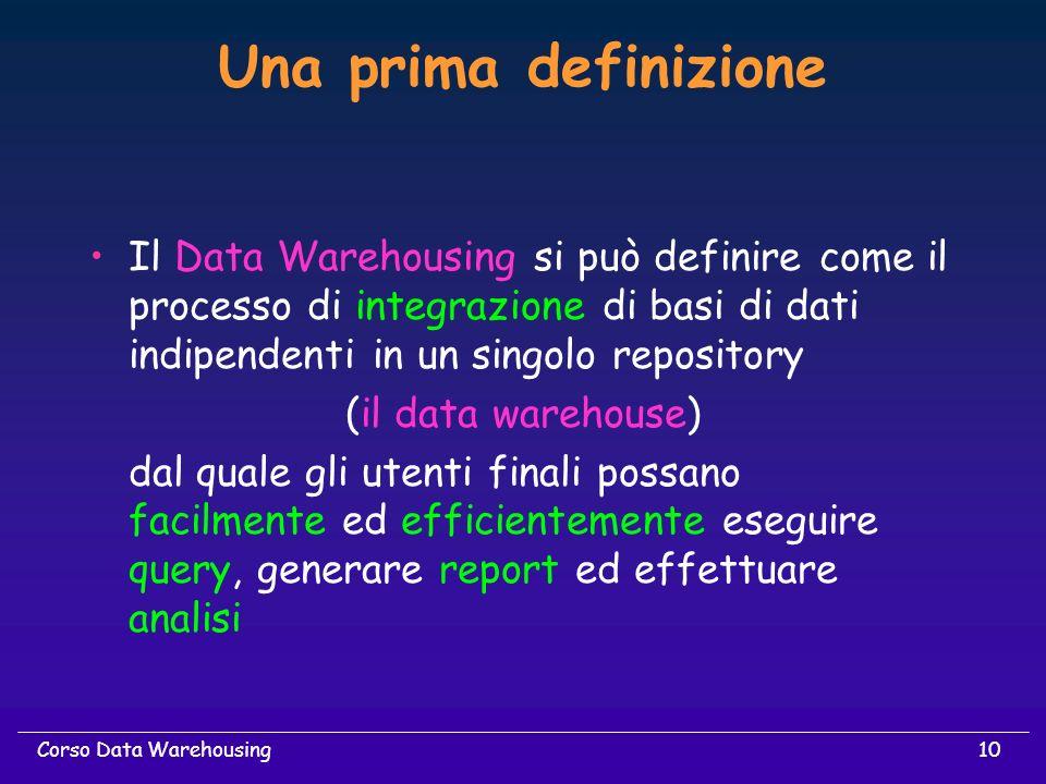 Una prima definizione Il Data Warehousing si può definire come il processo di integrazione di basi di dati indipendenti in un singolo repository.