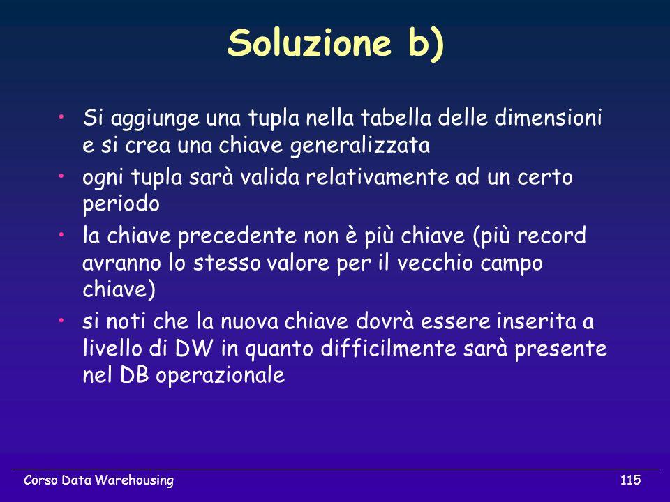 Soluzione b) Si aggiunge una tupla nella tabella delle dimensioni e si crea una chiave generalizzata.