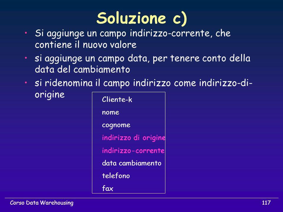 Soluzione c) Si aggiunge un campo indirizzo-corrente, che contiene il nuovo valore.