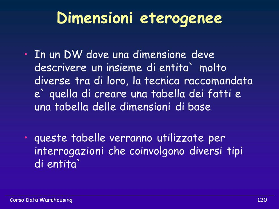 Dimensioni eterogenee