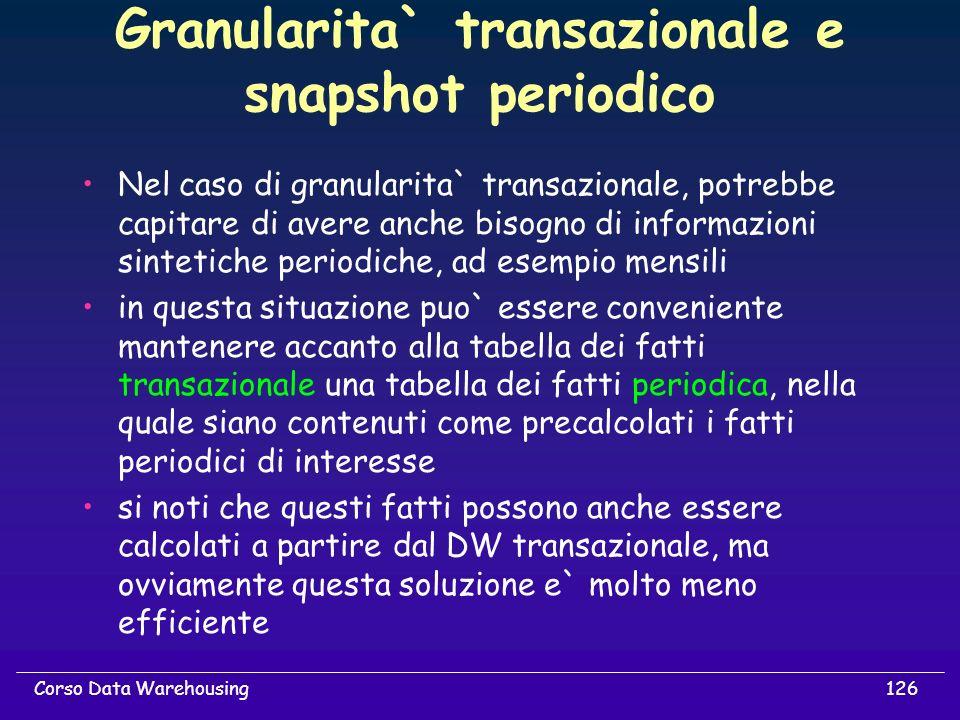 Granularita` transazionale e snapshot periodico
