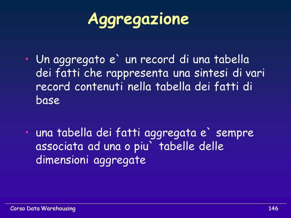Aggregazione Un aggregato e` un record di una tabella dei fatti che rappresenta una sintesi di vari record contenuti nella tabella dei fatti di base.