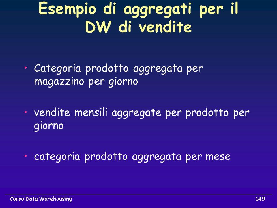Esempio di aggregati per il DW di vendite