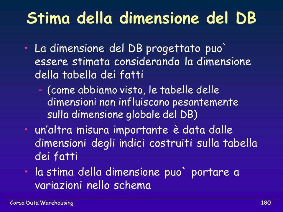 Stima della dimensione del DB