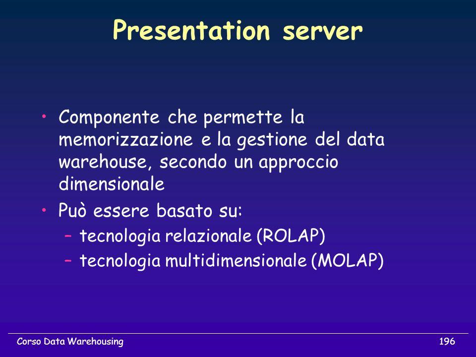 Presentation server Componente che permette la memorizzazione e la gestione del data warehouse, secondo un approccio dimensionale.