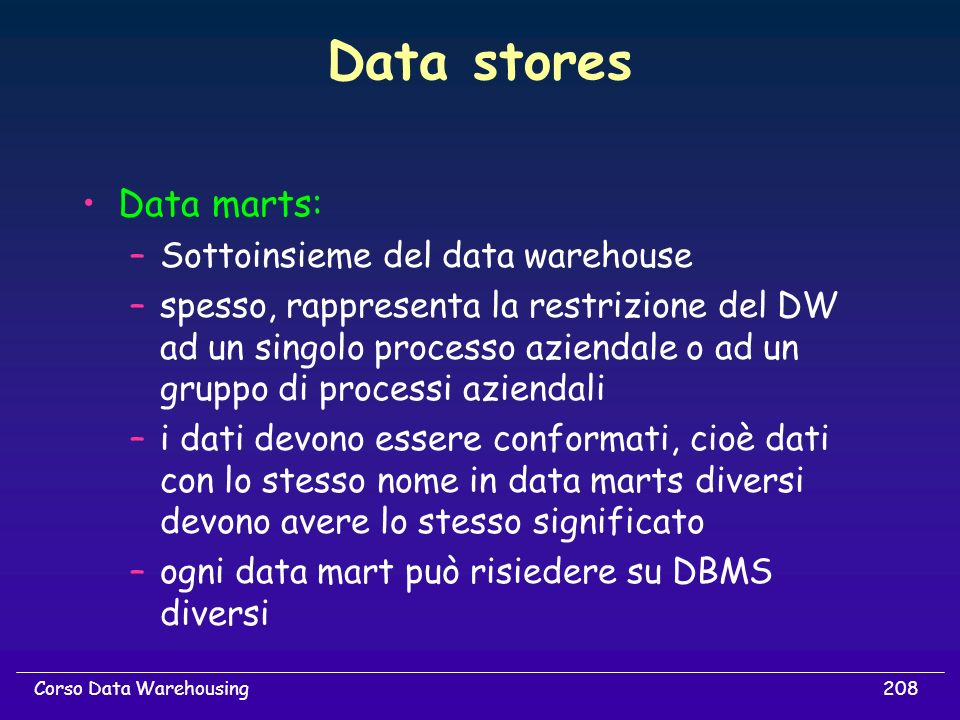 Data stores Data marts: Sottoinsieme del data warehouse