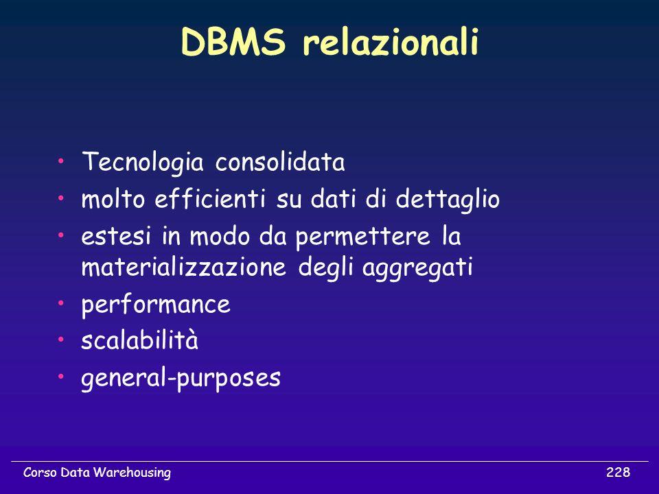 DBMS relazionali Tecnologia consolidata