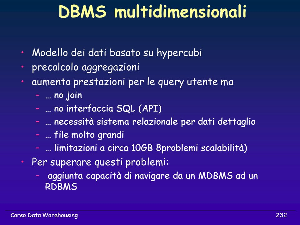 DBMS multidimensionali