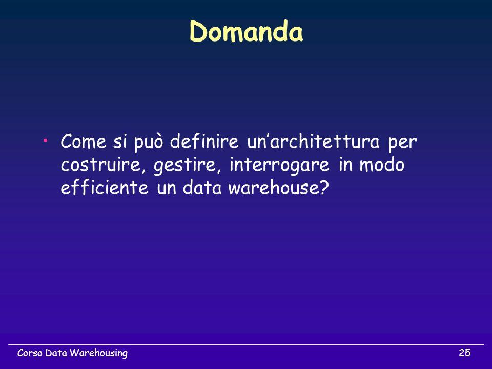 Domanda Come si può definire un'architettura per costruire, gestire, interrogare in modo efficiente un data warehouse