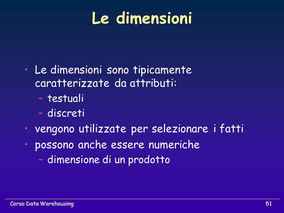 Le dimensioni Le dimensioni sono tipicamente caratterizzate da attributi: testuali. discreti. vengono utilizzate per selezionare i fatti.