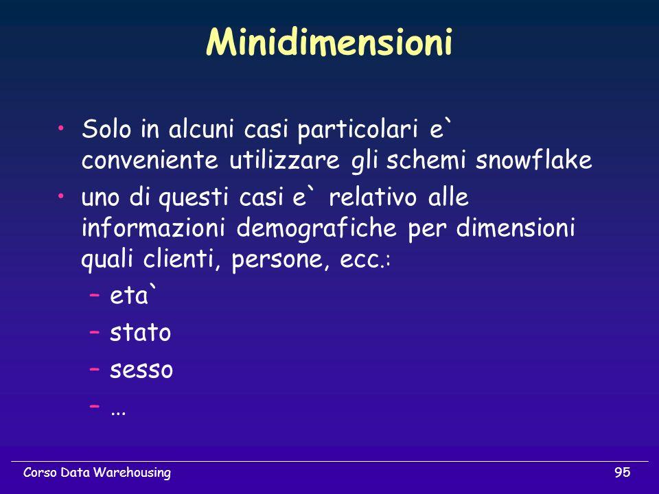 Minidimensioni Solo in alcuni casi particolari e` conveniente utilizzare gli schemi snowflake.